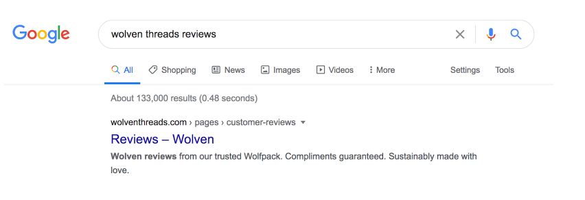 """The image shows a Google search page, with the text """"wolven threads review"""" written in the search bar. The higher-ranked result is from the customer review page on the Wolven website."""